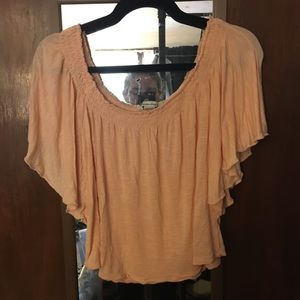 Peachy off the shoulder tee